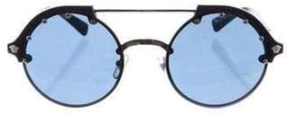 Versace Stud-Embellished Round Sunglasses