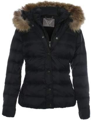 Daniel Black Double Fastening Fur Trim Hooded Jacket
