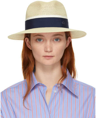 Maison Michel Beige and Navy Straw Henrietta Fedora