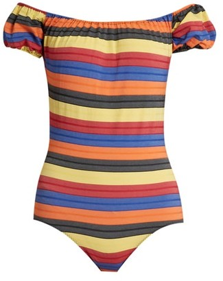 Lisa Marie Fernandez Leandra Striped Swimsuit - Womens - Yellow Multi