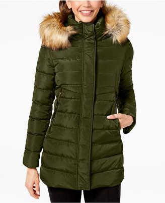 INC International Concepts I.n.c. Faux-Fur-Trim Hooded Puffer Coat