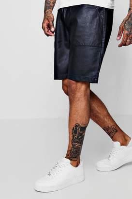 boohoo Faux Leather Drawstring Short