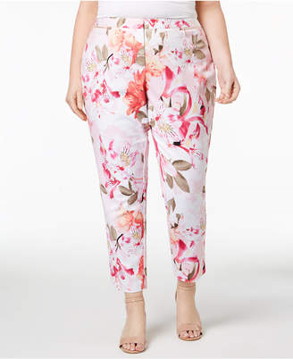 Calvin Klein Plus Size Slim-Fit Gingham Pants
