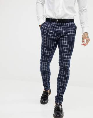 Asos DESIGN super skinny suit pants in navy grid check