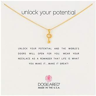 "Dogeared Reminders- ""Unlock Your Potential"" Dipped Sterling Silver Simple Key Charm Necklace"