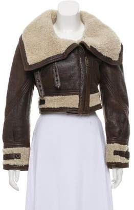 Burberry Leather Shearling-Lined Jacket
