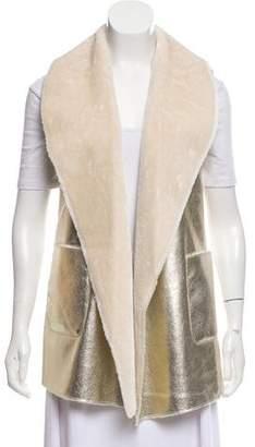 Neiman Marcus Metallic Faux Fur-Accented Vest