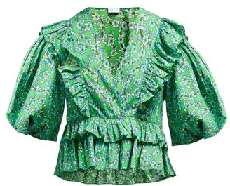 Rhode Resort Elodie Floral Print Cotton Voile Blouse - Womens - Green Print