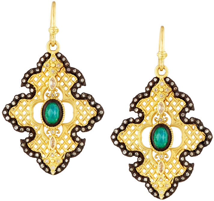 Armenta Armenta Old World Malachite Doublet Cross Drop Earrings w/ Sapphires & Diamonds