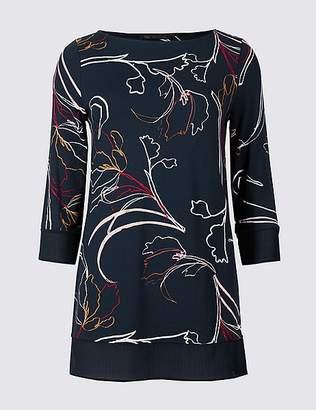 Marks and Spencer Printed Slash Neck 3/4 Sleeve Tunic