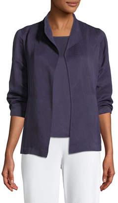 Eileen Fisher Linen/Silk Satin 3/4-Sleeve Jacket
