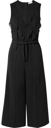 RED Valentino Cropped Point D'esprit, Ruffled Chiffon And Crepe Jumpsuit - Black