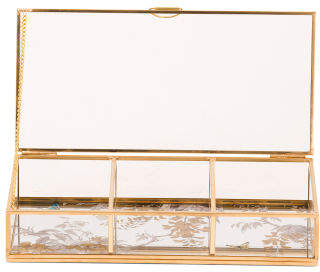 3 Section Floral Metal & Glass Jewelry Box