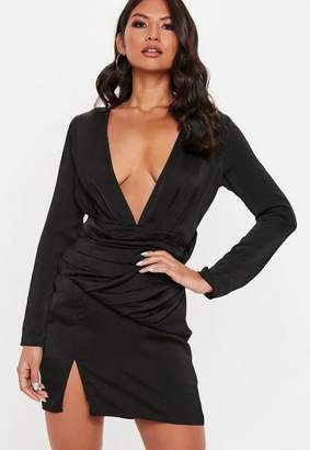 Missguided Black Silky Panelled Shift Dress