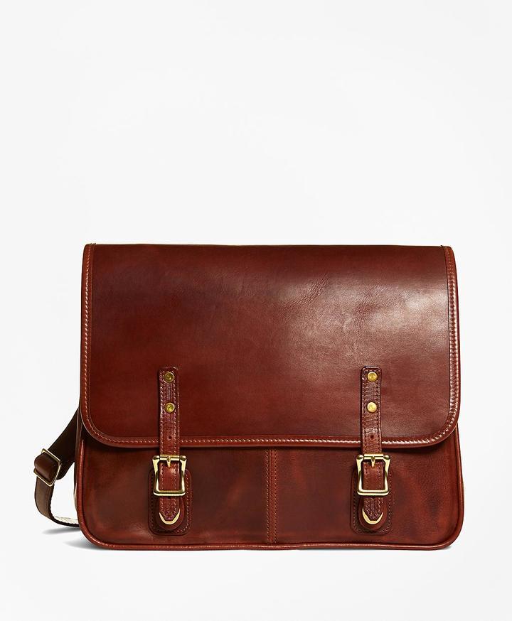 Brooks Brothers J.W. Hulme Leather Flap Messenger Bag