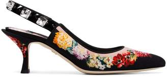 Dolce & Gabbana black 60 floral print slingback leather pumps
