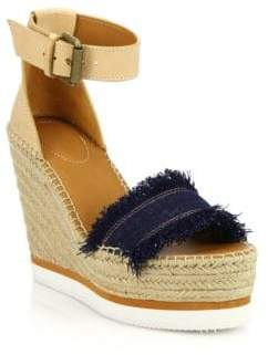 See by Chloe Glyn Leather & Frayed Canvas Espadrille Wedge Platform Sandals