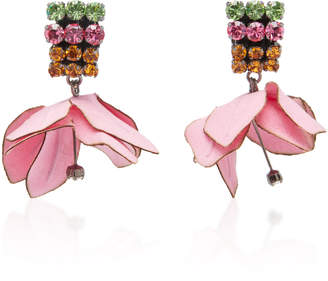 Marni Cotton Flower Earrings With Rhinestones