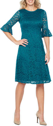 Perceptions 3/4 Bell Sleeve Lace Fit & Flare Dress