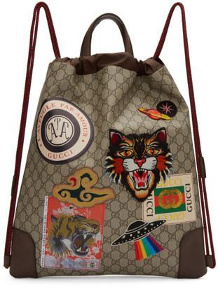 Gucci Beige GG Supreme Zaino Backpack