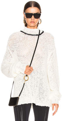 Jil Sander Mock Neck Sweater in White | FWRD