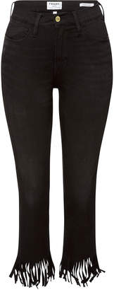 Frame Le High Straight Skinny Jeans with Fringe