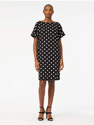Oscar de la Renta Polka Dot-Print Stretch-Wool Crepe Shift Dress