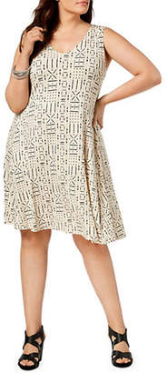 Style&Co. STYLE & CO. Plus Plus Size Printed Cross-Back Swing Dress