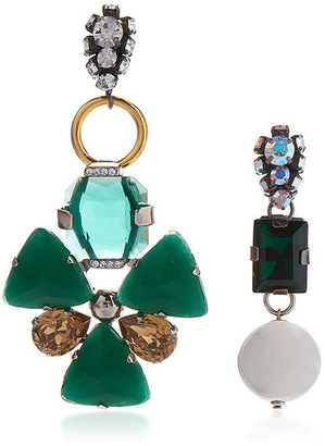 Marni Asymmetrical Earrings with Strass in Green $740 thestylecure.com