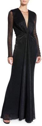 Talbot Runhof Nominee Deep-V Long-Sleeve Gown