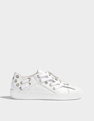 N°21 N21 Zip Front Sneakers With Rivet and Lace Detail in White Leather