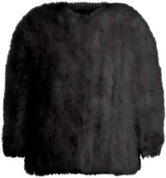 Yves Salomon Cropped feather-embellished jacket
