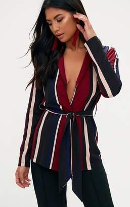 PrettyLittleThing Cobalt Stripe Belted Blazer
