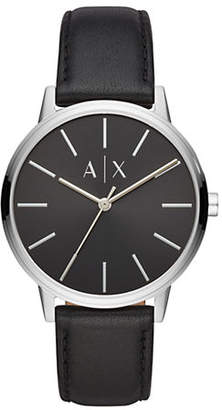Armani Exchange Three-Hand Leather Strap Watch
