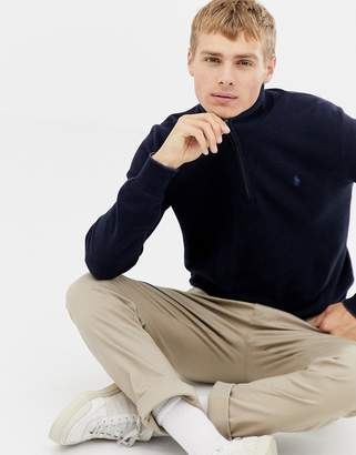 Polo Ralph Lauren texture pima cotton jumper with half zip in navy marl