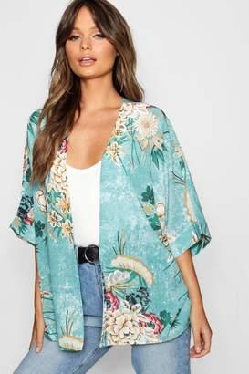 boohoo Oriental Floral Kimono