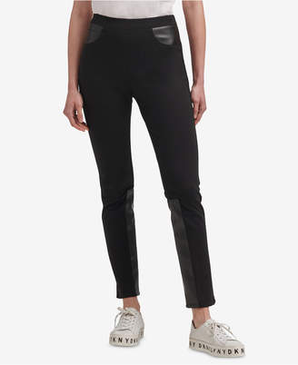 DKNY Ponte-Knit & Faux-Leather Skinny Pants
