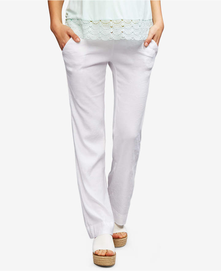 A Pea In The PodA Pea In The Pod Maternity Linen-Blend Wide-Leg Pants