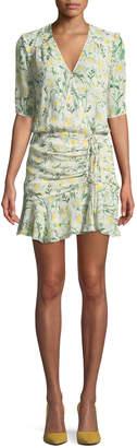 Veronica Beard Dakota Daisy-Print Silk Flounce Dress