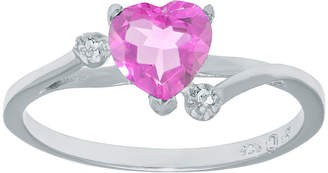 FINE JEWELRY Lab-Created Pink Sapphire and Genuine White Topaz Sterling Silver Heart-Shaped Ring
