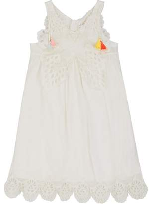 Chloé KIDS' BUTTERFLY-EMBROIDERED COTTON DRESS