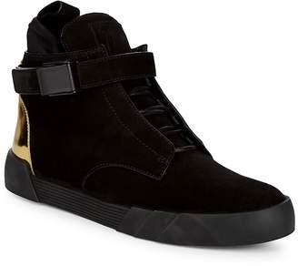 Giuseppe Zanotti Men's Ankle Strap Metallic Heel Hi-Top Sneakers