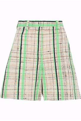 Maison Margiela Neon Checked Cotton-Blend Tweed Shorts