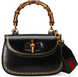 Gucci Bamboo Classic frame print leather top handle bag