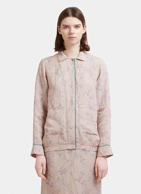 Eka Floral Print Linen Jacket in Pink