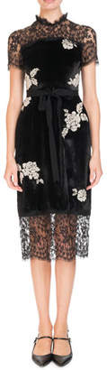 Erdem Keni Short-Sleeve Lace & Velvet Shift Dress w/ Pearly Roses