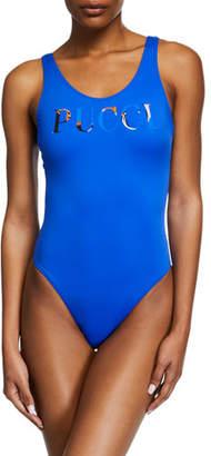 Emilio Pucci High-Cut Scoop-Back Logo One-Piece Swimsuit