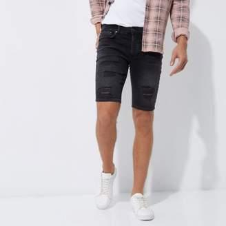 River Island Black ripped skinny denim shorts