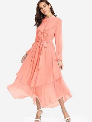 Shein Lace Detail Button Half Placket Asymmetrical Dress