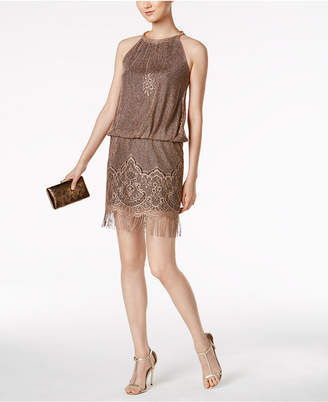 SL Fashions Metallic Crochet Fringe Dress